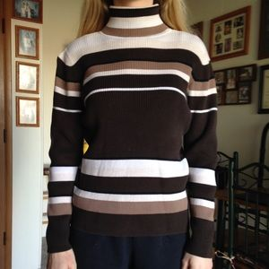Beautiful neutral tone striped cotton turtleneck